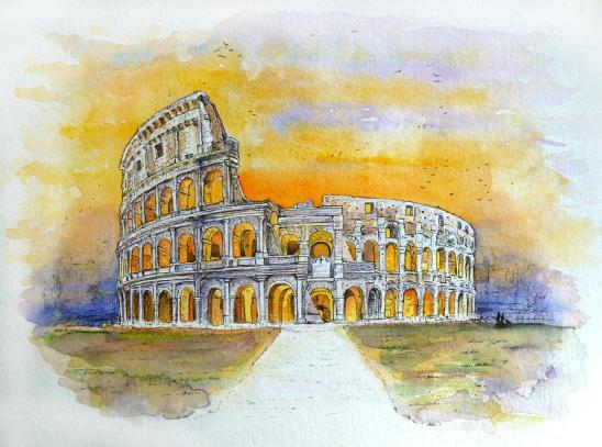 watercolour-painting-of-the-coliseum-in-rome-gill-bustamante-