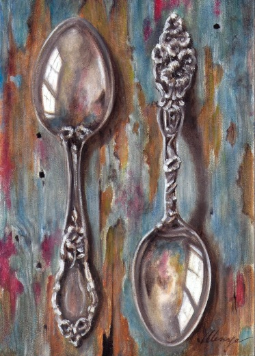 001 scan another painting of the spoons at 300 dpi bolder colors