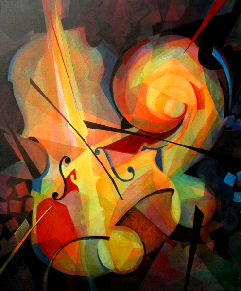 """Cubist Play"" Painting by Susanne Clark"