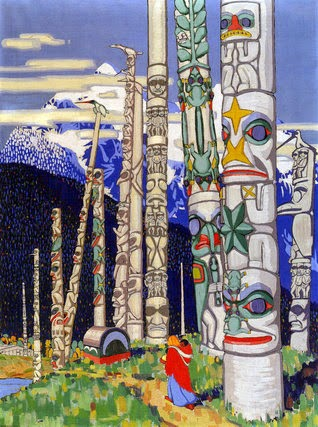 Gitwinkool Totem poles, c. 1924. National Gallery of Canada, by Langdon Kihn