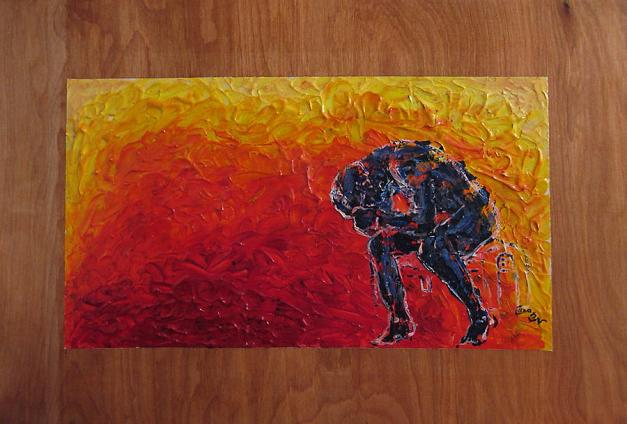 agony-doubled-over-in-flames-on-wood-panel-m-zimmerman
