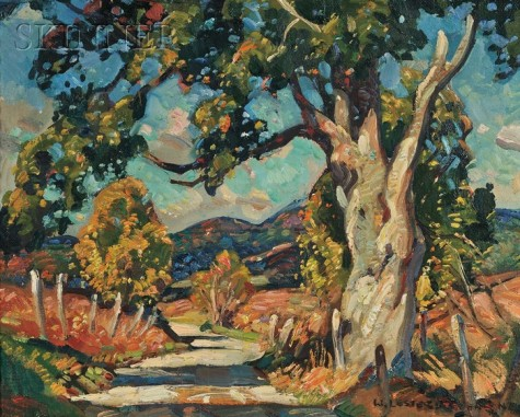 william-lester-stevens-american-1888---1969-landscape-with-gnarled-tree